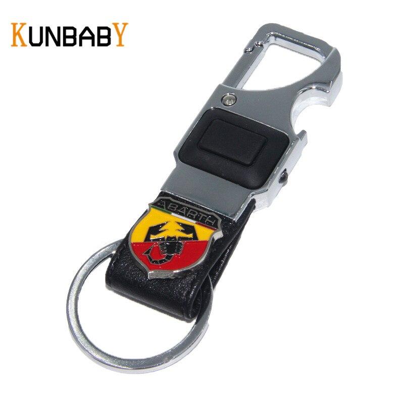 KUNBABY coche accesorios de cuero coche llave cadena llavero de Metal clave...