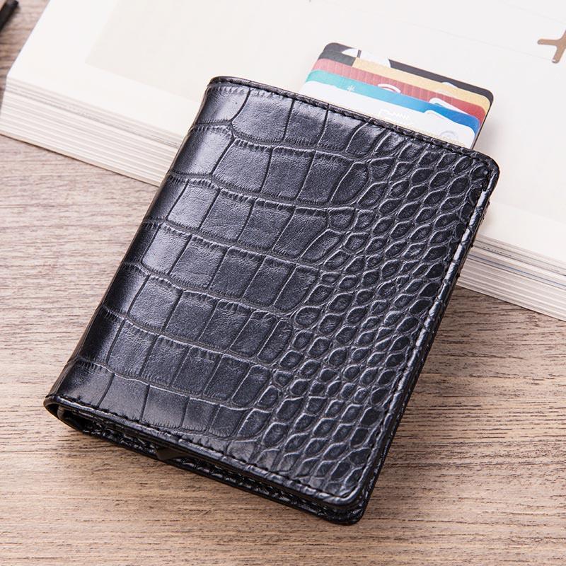 Maideduod 2019 Aluminum Wallet Credit Card Holder Metal with RFID Blocking Multifunction Wallet Travel Metal Case Black