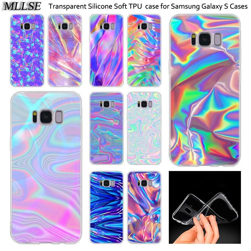 Arco Iris iridiscente de silicona funda para Samsung Galaxy Nota 10 Plus S8 S9 S10 Plus 5G S6 S7 borde S5 S10e Nota 5
