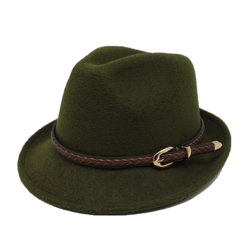 Chapéu de feltro de lã europeu eua chapéu de feltro cowboy jazz tendência trendby fedoras panamá boné chapeau com faixa de couro masculino