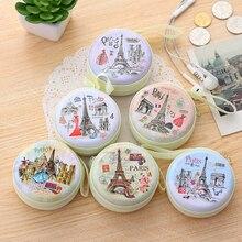 Chaude unisexe femmes Mini sac de monnaie mignon rond casque Paris Eiffel fermeture éclair porte-monnaie clé MIni portefeuille pochette sac nouveau
