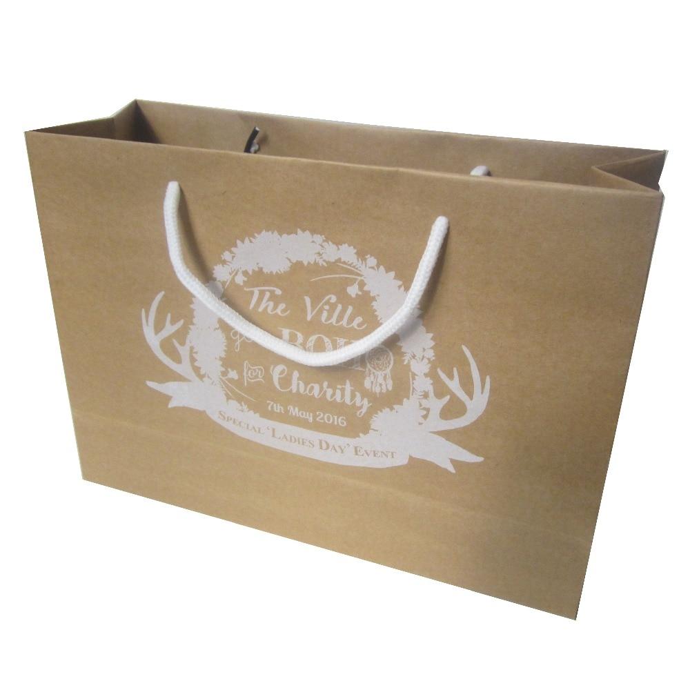 22*31*10cm 200 pçs/lote saco de papel kraft marrom corda de algodão lidar com saco de compras personalizado armazenamento logotipo da empresa impresso
