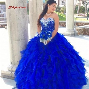 Royal Blue Ball Gown Quinceanera Dresses Luxury Crystals Sweetheart Prom Debutante Sixteen 15 Sweet 16 Dress vestidos de 15 anos