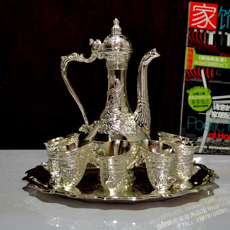 Oferta especial, 8 piezas de vino plateado, conjunto de vino europeo antiguo, bote de vino Dragón, copa de pollo, regalo de inauguración