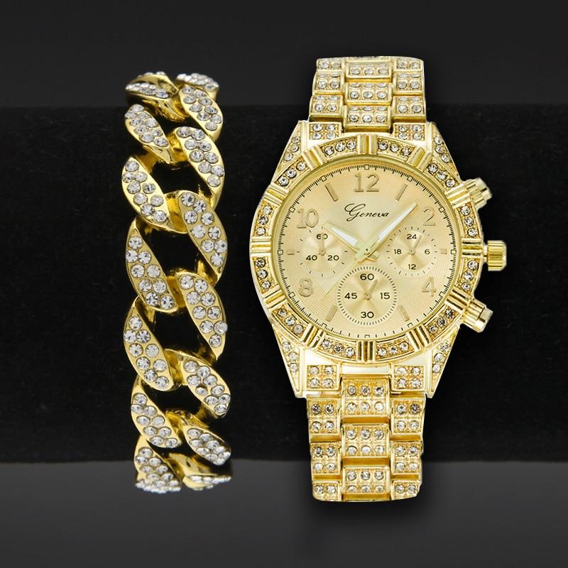 Männer Uhr Luxus Mode Bling CZ Gold Uhren Quarz Uhr Drei Augen Runde Uhren 8 zoll Kubanischen Kette Armband
