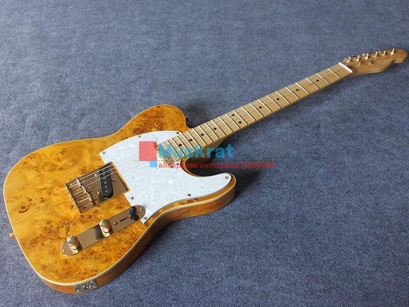 Em estoque! Guitarra elétrica spalted maple topo tl basswood corpo transparente amarelo apresentado picareta e saco frete grátis