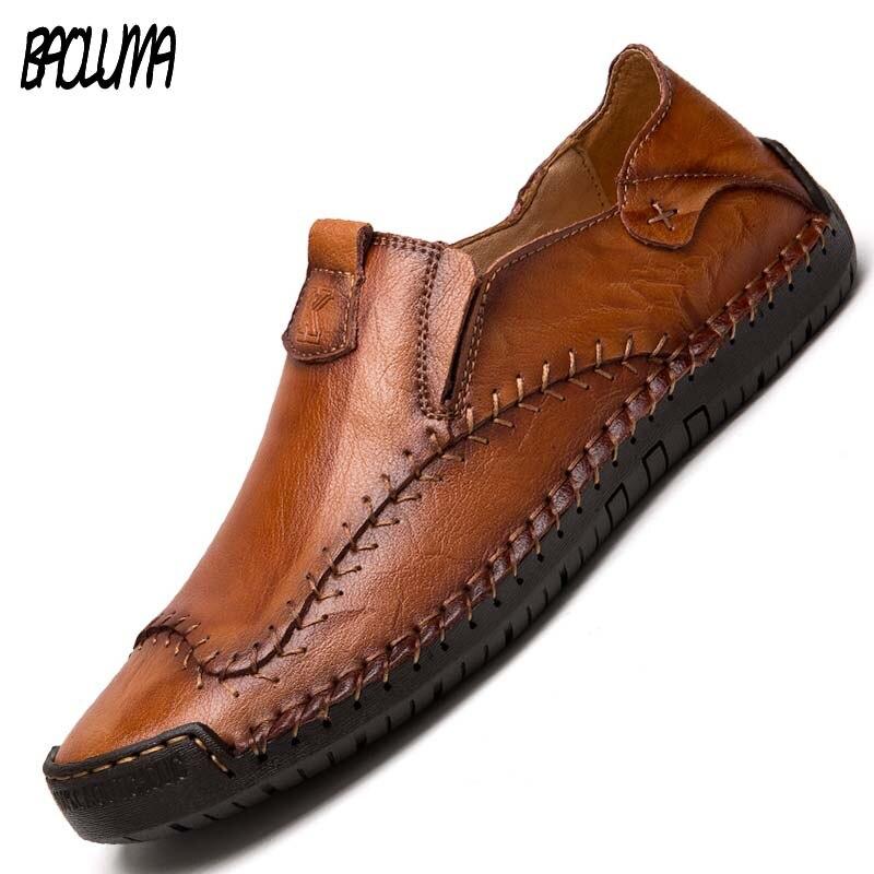 Mocassins feitos à mão couro genuíno sapatos casuais masculinos marca de luxo mocassins italianos preto tênis sapatos formais 38-48