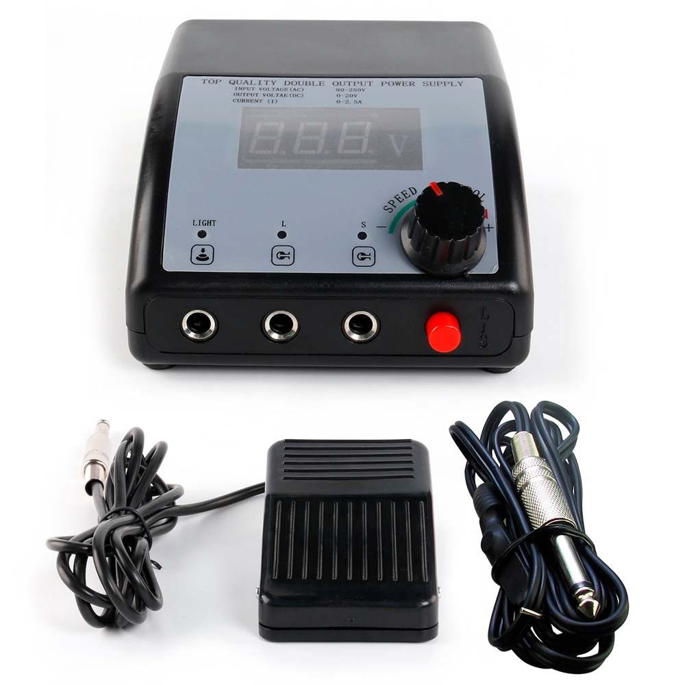 Tattoo New Power Supply Foot pedal +Clip Cords For Machine Gun Grip Tips Kit Tattoo Accesories P102