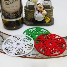 10 pièces/lot noël flocons de neige tasse tapis dîner Table sous-verres plat Pad décoration de noël pour la maison nouvel an produits
