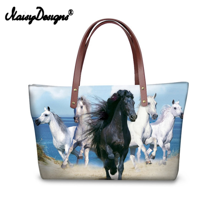 Bolso de compras Vintage 3D caballo Mesenger bolso de hombro femenino bolsos de playa de cuerpo cruzado HD impreso pequeño blanco Balestra
