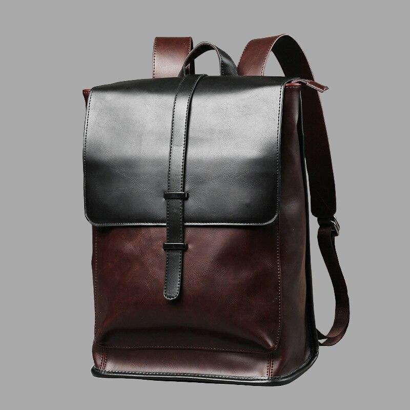 Mochilas de couro do portátil do vintage para sacos de escola dos homens do plutônio viagem lazer mochilas retro ocasional mochila adolescentes estudantes