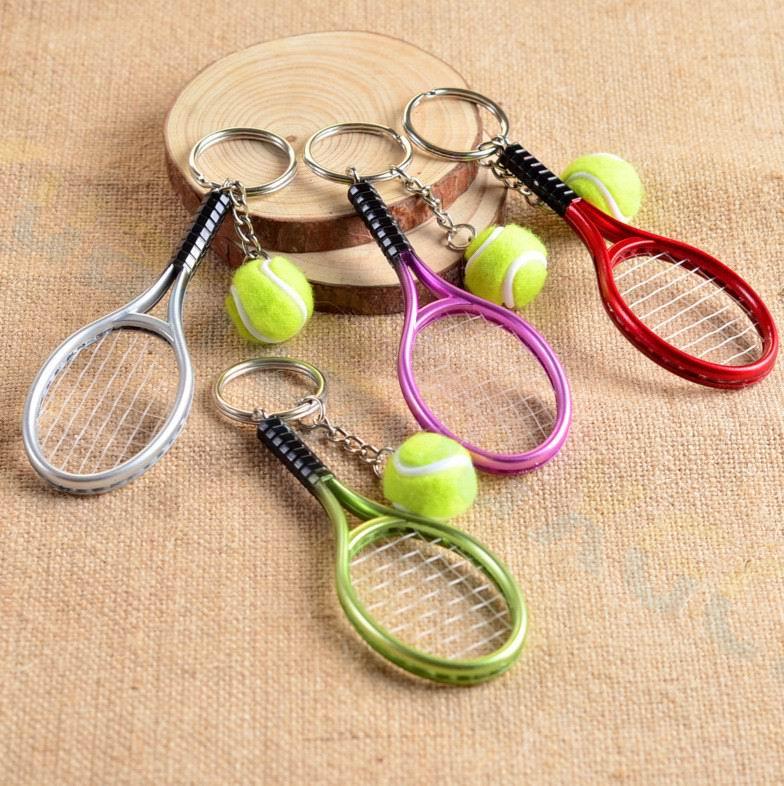 Tennis bag Pendant plastic mini tennis racquet key ring small Ornaments sport keychain fans souvenirs key chain gifts