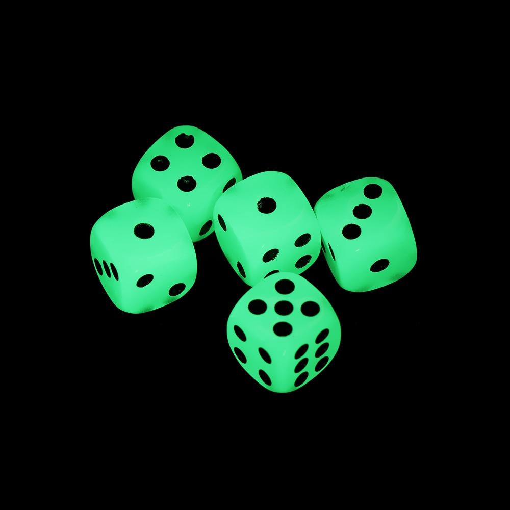 5 PCs Hot sale 14mm 6 Cubos de Dados Face Noctilucent Luminous Night Light Noite Divertida Bar KTV Entretenimento Jogo dices Atacado