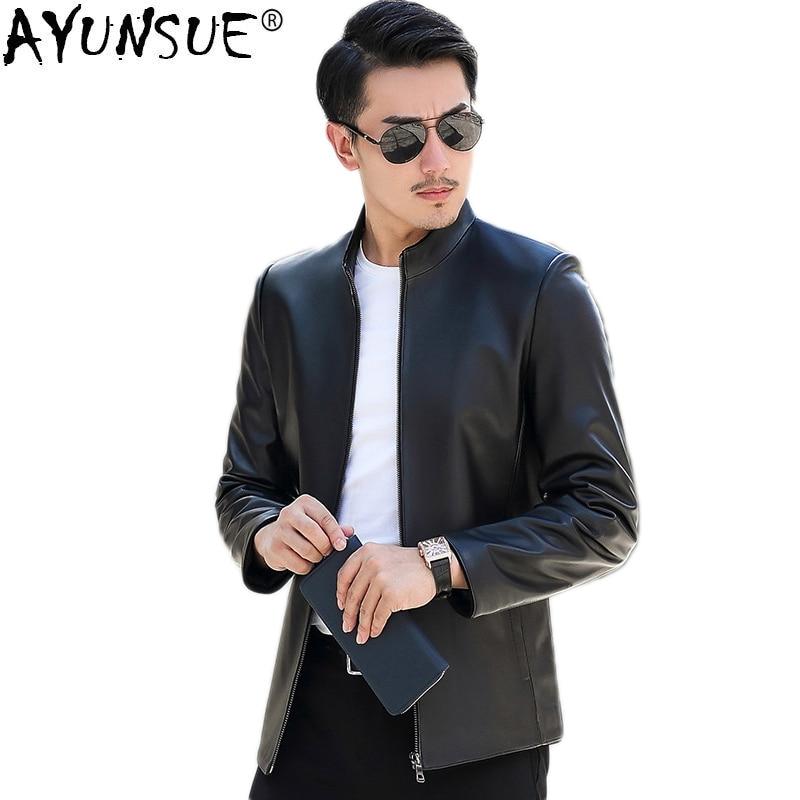 AYUNSUE Men Genuine Leather Jacket Spring Autumn Sheepskin Coat  Men Plus Size Motorcycle Jacket Casaca Cuero Hombre 16826 KJ838