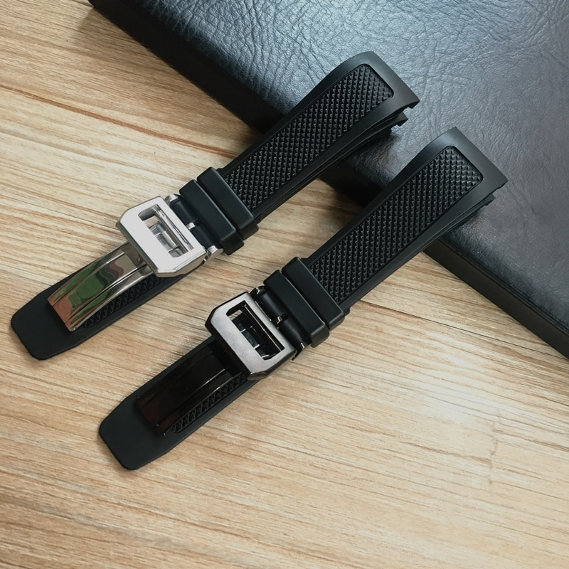 Extremidade curvada 22mm pulseira de relógio de borracha de silicone macio preto para iwc portugieser yacht club chronograph iw390502 iw390209 pulseira de relógio