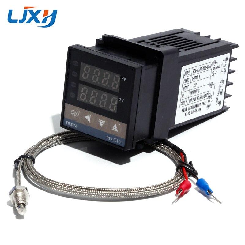 LJXH REX-C100 PID Digital Controlador De Temperatura Do Termostato com M6 Fio Termopar Tipo K SSR/Saída de Relé Controlador Kit