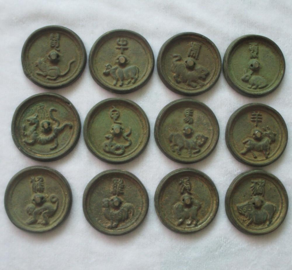 12 unid/lote coleccionable chino bronce antiguo tallado 12 animales moneda/figuras del zodiaco envío gratis