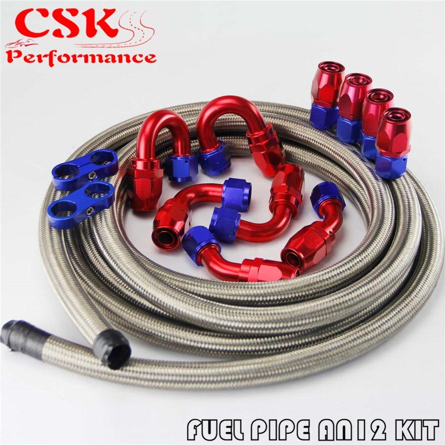 Línea de combustible de aceite trenzada de acero inoxidable 12AN 16ft + Kit de adaptador de accesorio para manguera