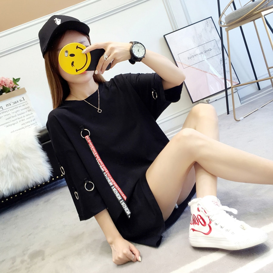 Camiseta larga de verano para mujer de talla grande con cuello redondo Ulzzang Harajuku Kawaii estilo coreano ropa de calle Top mujer camiseta de gran tamaño 50H0013