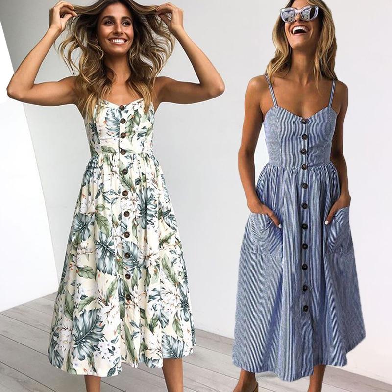 Vintage Casual Sundress Female Beach Dress Midi Button Backless Polka Dot Striped Women Dress Summer 2021 Boho Sexy Floral Dress