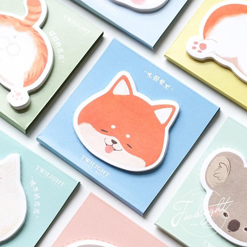 4 Uds dibujos animados animales nalgas memo pad lindo fox panda gato perro planificador con notas adhesivas pegatina papelería oficina escuela suministros F330