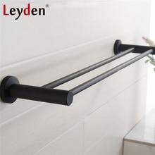 Leyden negro de acero inoxidable de doble barra de toalla de baño montado en la pared accesorios para el baño perchas para toalla carril Hardware Baño