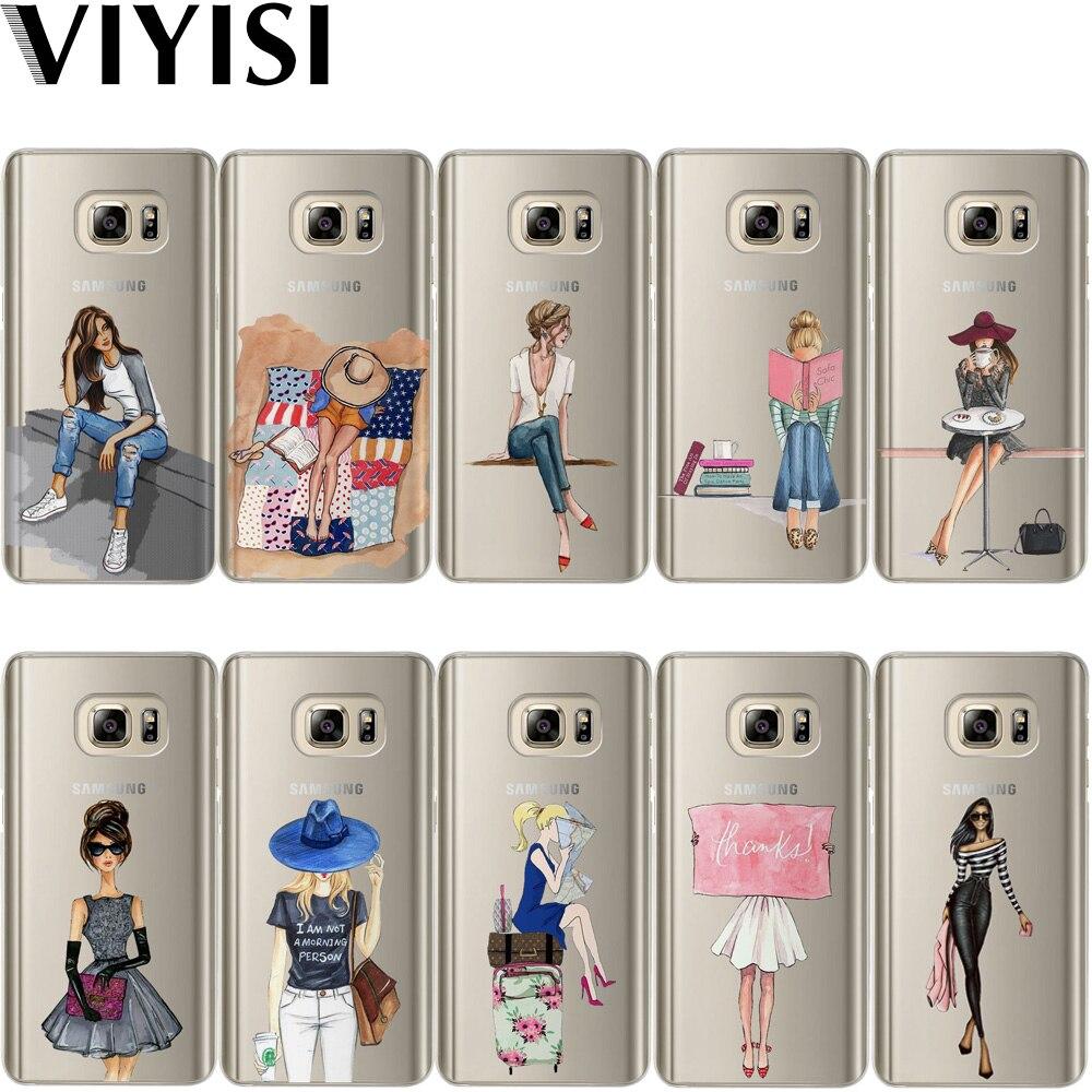 VIYISI para Samsung Galaxy S8 S9 Plus teléfono caso chica de París cubierta J7 J5 J3 A5 A3 2015, 2016 de 2017 S6 S7 borde verano Coque Shell