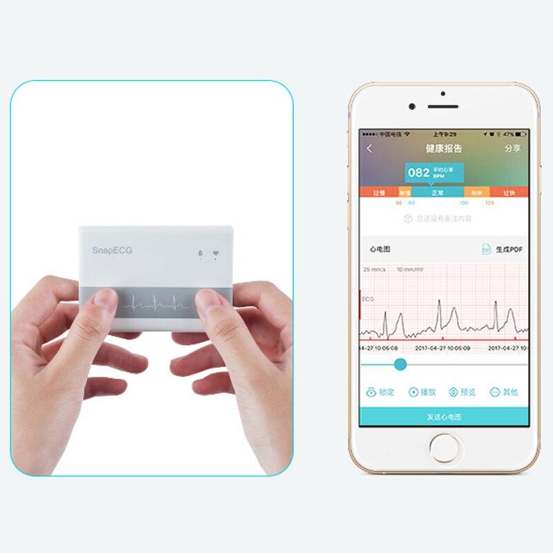 Android et IOS moniteur ECG dernière sans fil Bluetooth 4.0 prise en charge Mini ECG Machine mesure SnapECG électrode Holter carte