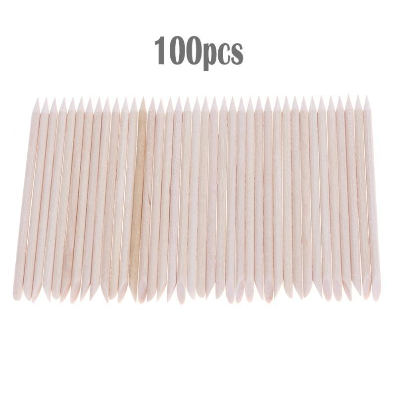 100pcs Nail Art Wood Stick Cuticle Pusher Remover for Nail Art Care Manicures Angled Orange Sticks Nail Art Tools Free Shipping