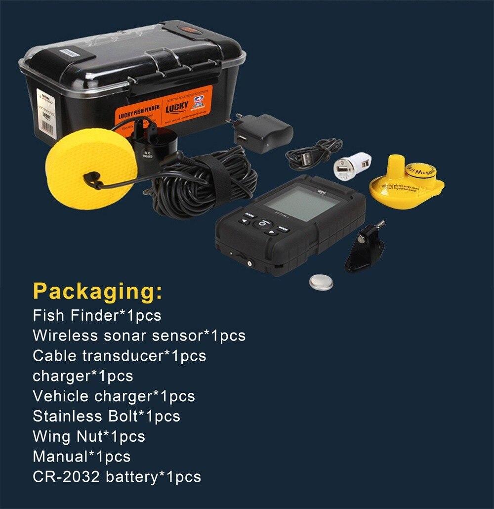 LUCKY Waterproof Wireless Portable Fish finder 0.7-100M 328ft Sensor 125kHz Sonar Frequency Bottom Contour waterproof fishing enlarge