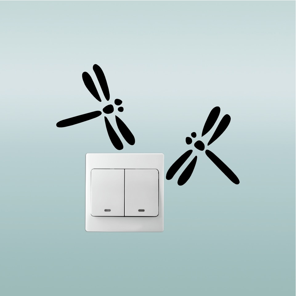 Butter-15 lindo interruptor de libélula adhesivo con dibujo de animal pegatina de pared para niños habitación dormitorio hogar papel pintado