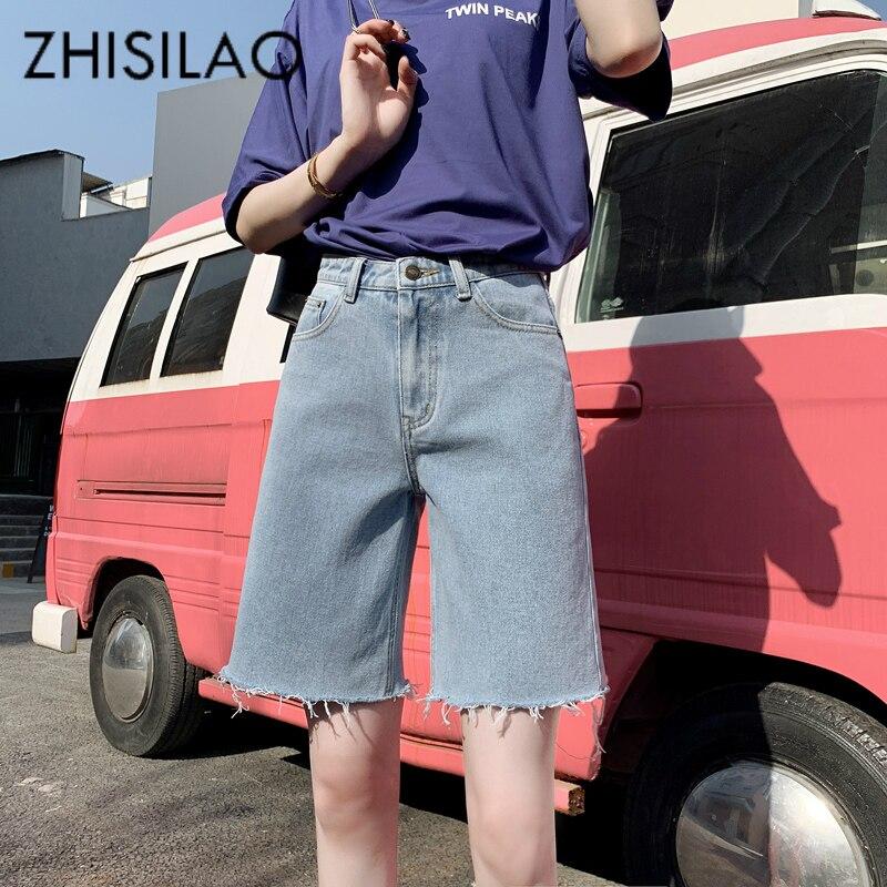 Vaqueros Capris para mujer talla grande hasta la rodilla pantalones cortos de mezclilla de calle mujeres sueltas novio pantalones vaqueros rectos pantalones cortos de verano 2019