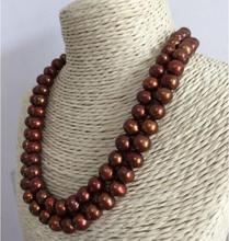 Bijoux fins élégant 8-9mm mer du sud baroque chocolat perle collier 38