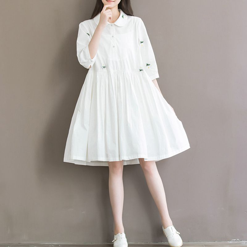 Ropa de maternidad, vestidos de nueva llegada para mujeres embarazadas, ropa blanca holgada con bordado de flores, Vestido premamá de algodón a la moda