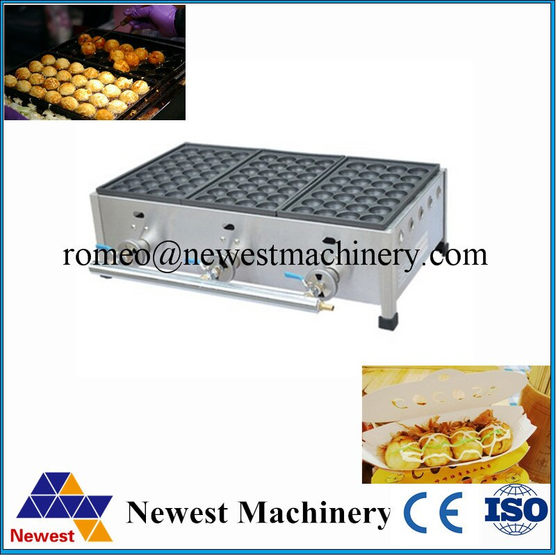 FY-1113 máquina para fabricar Takoyaki, horno de bola de pescado de gas comercial, máquina de Hacer bolas de carne con energía de gas de 2800pa
