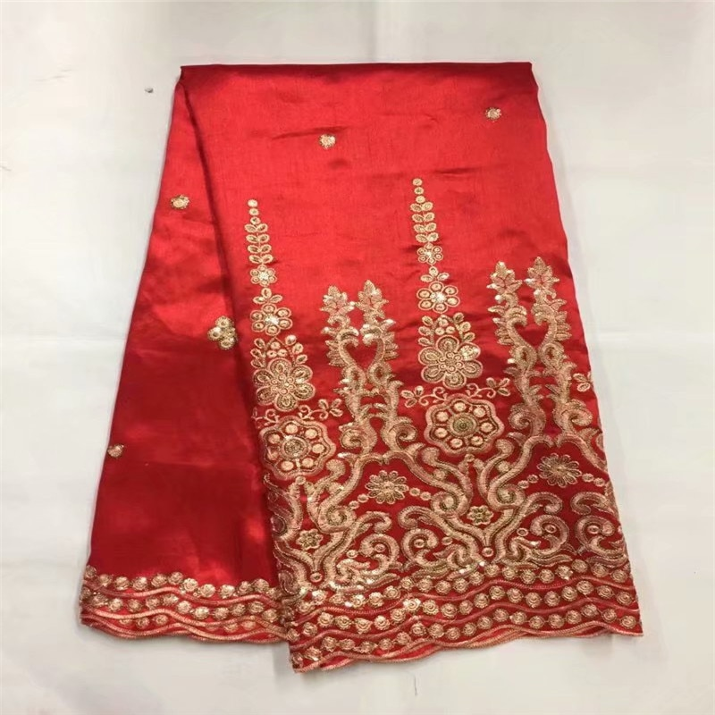 Tela de encaje africano George rojo de alta calidad George encaje de seda cruda George envoltorios 2018 telas de encaje Nigeriano para boda zgl72-44