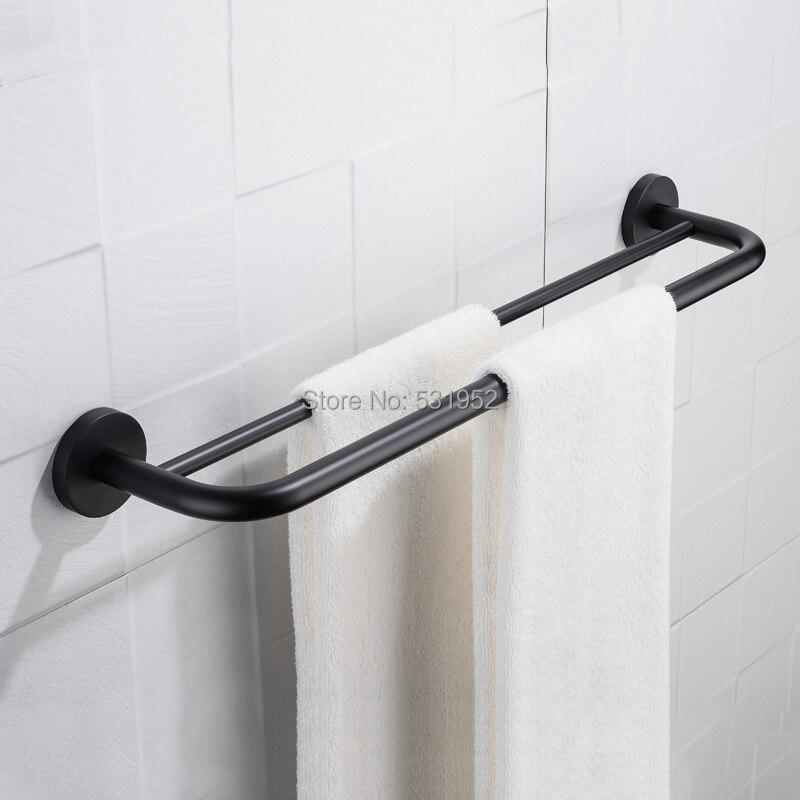 60 cm preto banheiro toalheiros banheiro de ferragens fixado na parede toalha de banho prateleiras trilhos dobro 24 Polegada