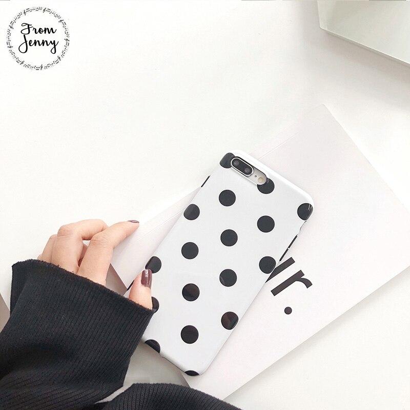 De Jenny blanco negro polka dots teléfono caso para iPhone6 6s 7 8 Plus 8plus X 4,7 pulgadas 5,5 + funda trasera suave TPU chica estilo lindo