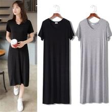 Été Long T-shirt femmes robe noir T-shirt à manches courtes grande taille mince Long haut pour Femme t-shirts Femme T-shirt robe Femme
