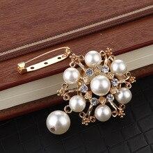 3 uds 60*48MM perlas acrílicas pavimentadas abalorios decorados tono dorado aleación broches florales adornos accesorios joyería pasadores bufanda