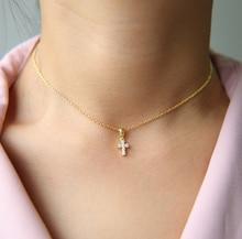 2020 de alta qualidade 925 sterling pave aaaa cz minúsculo bonito cruz pingente colares para mulheres menina mini charme pingentes bijoux jóias