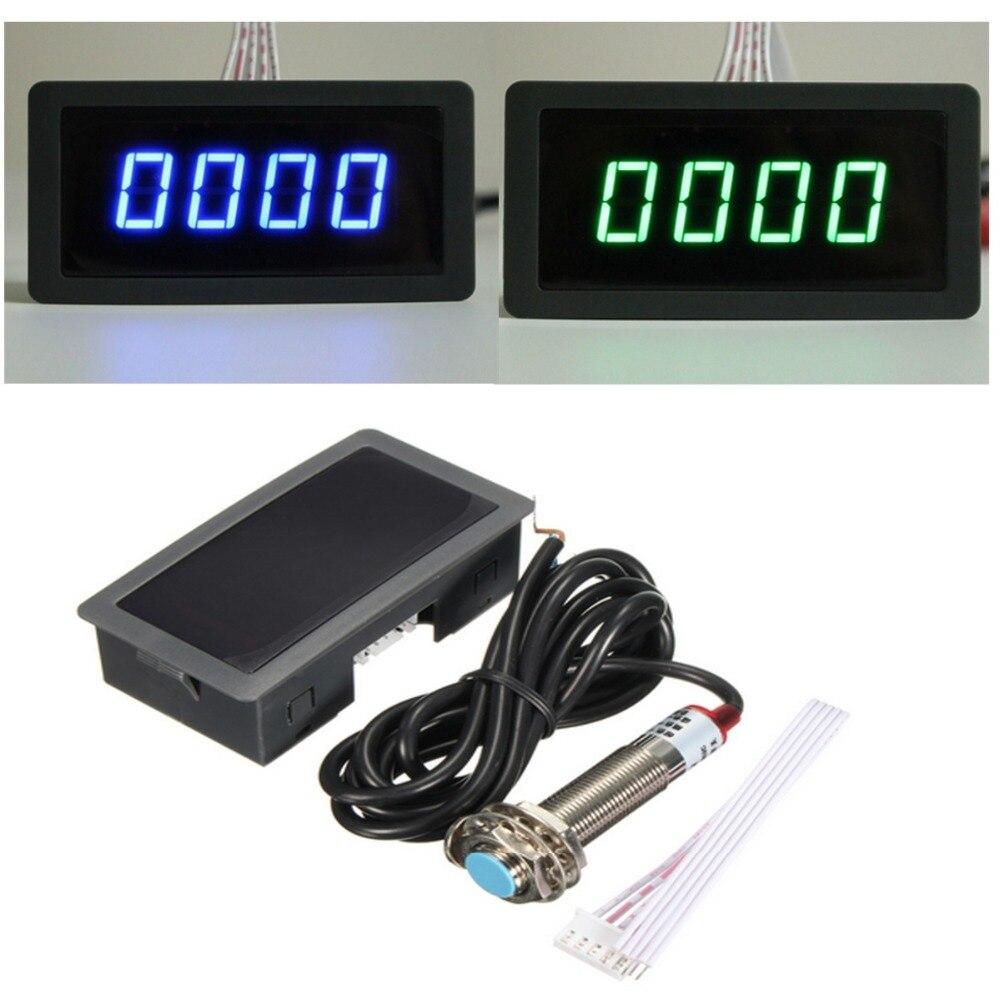 1/2 Uds 4 Digital LED azul verde tacómetro medidor de velocidad RPM Metro + Hall interruptor con Sensor de proximidad NPN 12V Dropshipping. Exclusivo.