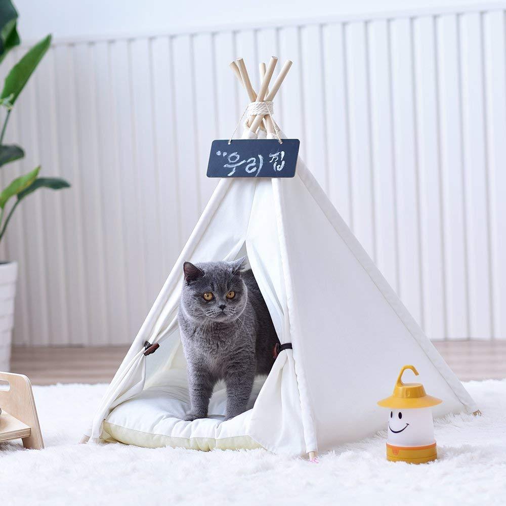 Lona lisa de color blanco perro Gato Tipi, tienda Tipi, sin cojín