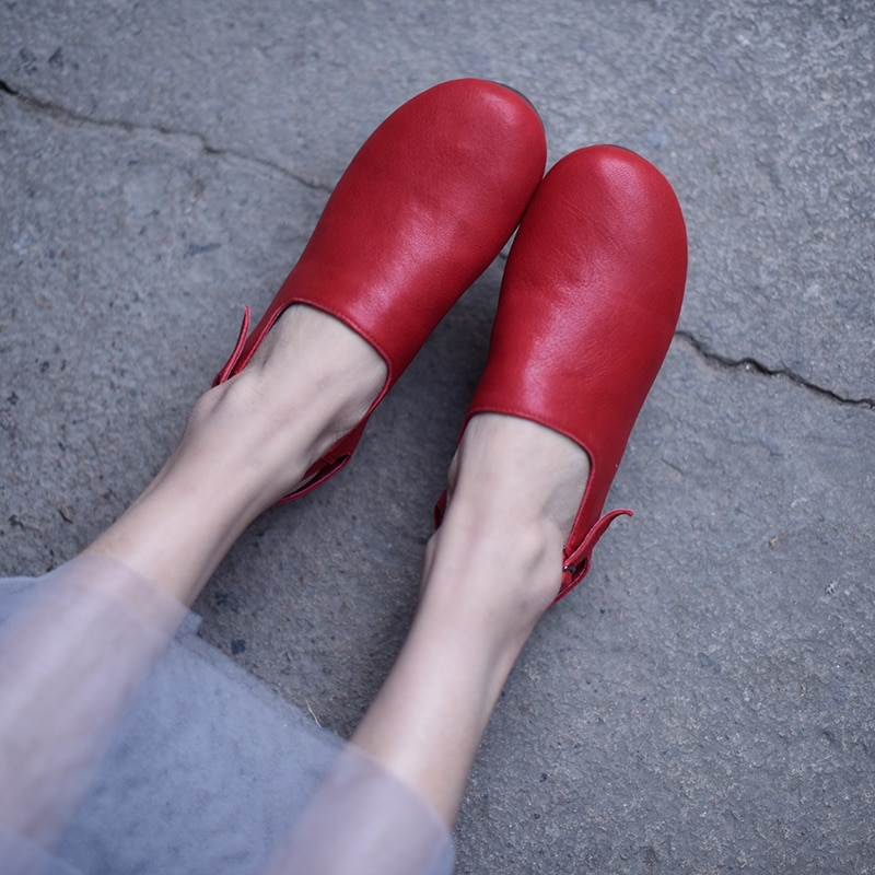Artmu Original Flat Women Sandal Female Soft Art 2019 New Genuine Leather Handmade Shoes Simple Sandals 1802-2J