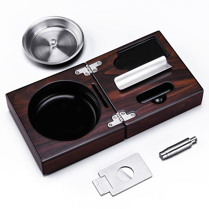 Nice Portable MirageBlack Folding Stainless steel Smoke Slot Soild Wood Cigar Ashtray with Cigar Cutter Cigar Punch CE-1205
