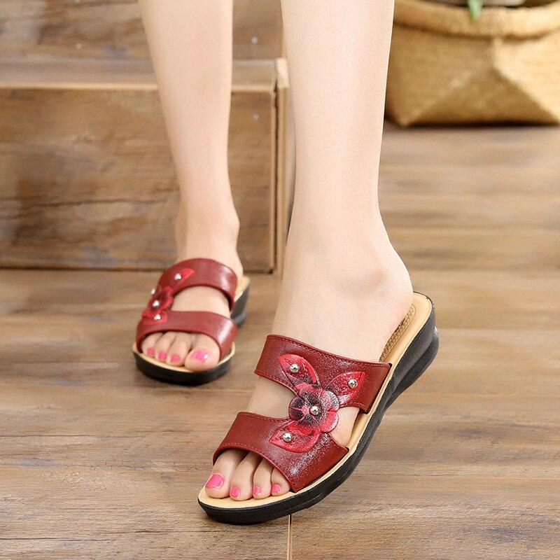 ¡Novedad de 2019! Zapatos de verano para mujer, sandalias de mujer a la moda, Zapatillas de piel con cuña de flores, sandalias de gladiador romano con plataforma y dedos abiertos para mujer