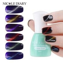 NICOLE DIARY Magnet Cat Eyes Top Coat 6ml Magnetic Effect UV Nail Polish Soak Off 6 Colors Led Nail Coat