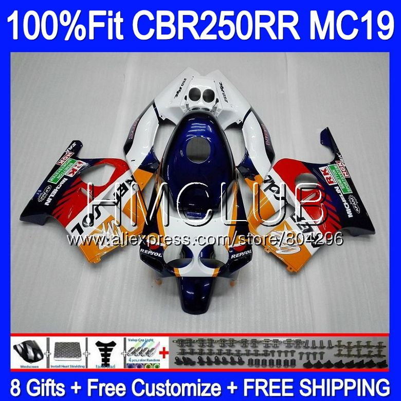 Injection Body For HONDA CBR 250RR 250R CBR250 RR 88 89 87HM.9 CBR 250 RR MC19 Repsol blue CBR250R CBR250RR 1988 1989 Fairing