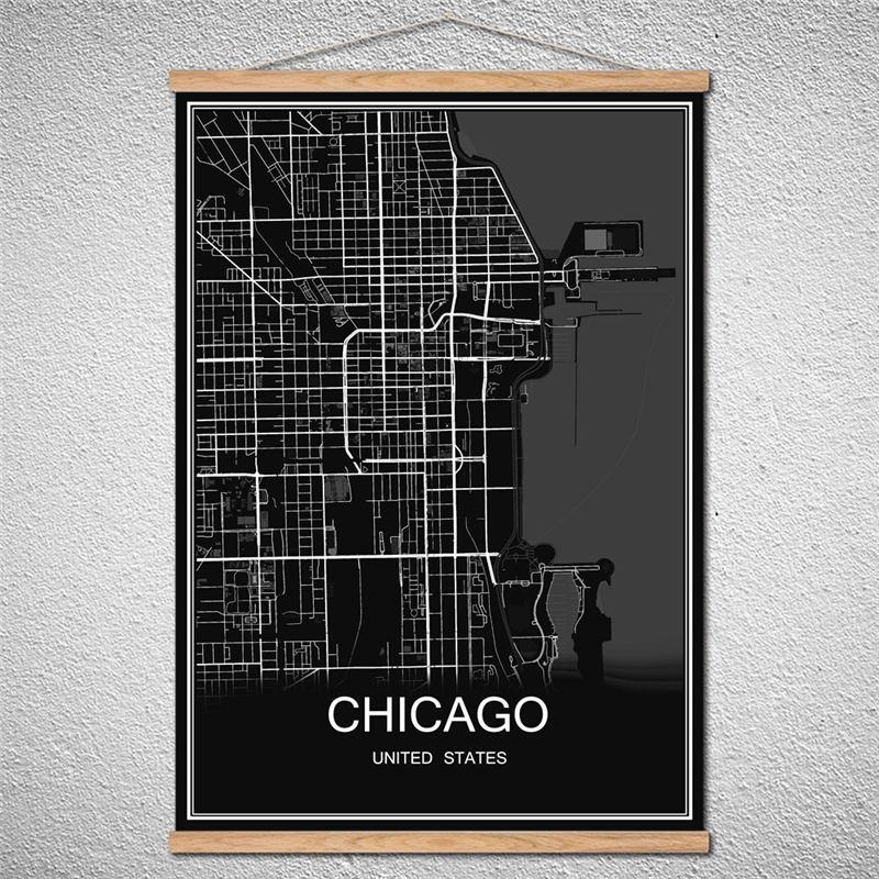 Póster personalizado CHICAGO moderno Mapa de ciudades del mundo pintura al óleo lienzo imagen de impresión abstracta Café Bar decoración con marco