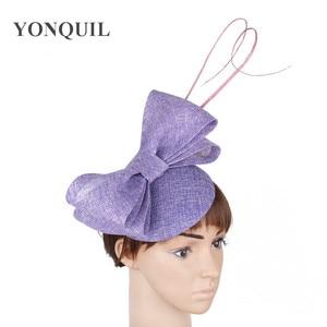 Imitation Sinamay Wedding Bow Chapeau Cap Hair Pin Bride Elegan Fascinator Hat With Fancy Feather Hair Accessories Women Hats